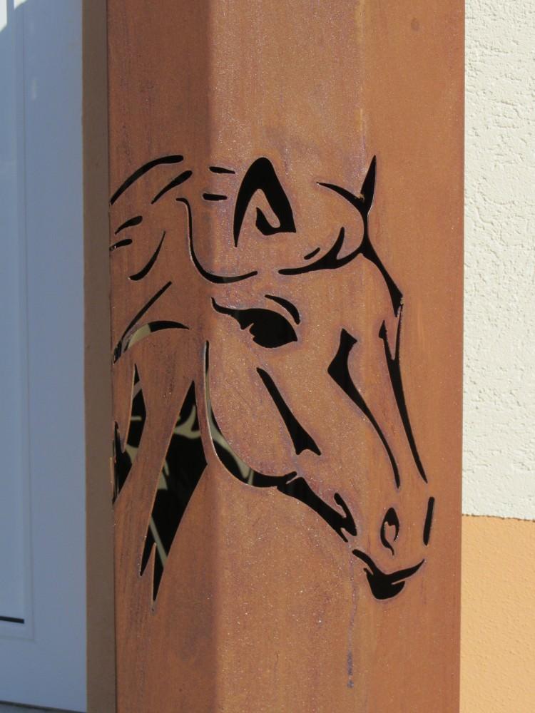 8eck s ule pferd s ule rost edelrost rost deko gartendeko for Tiere aus metall gartendeko